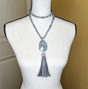Gray Picture Jasper Mala n Tassel Necklace